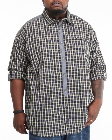 l/s mini pocket check button-down (b&t)