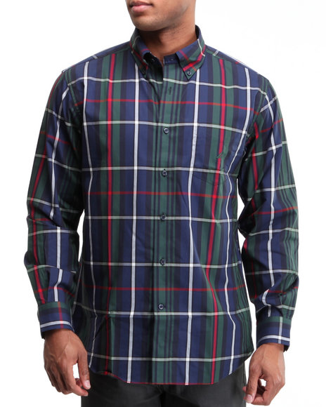 Nautica Men Forest Green Poplin Wide Plaid Button-Down Shirt