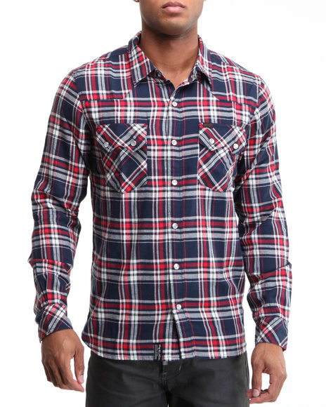 LRG Men Navy Trailhead L/S Button-Down