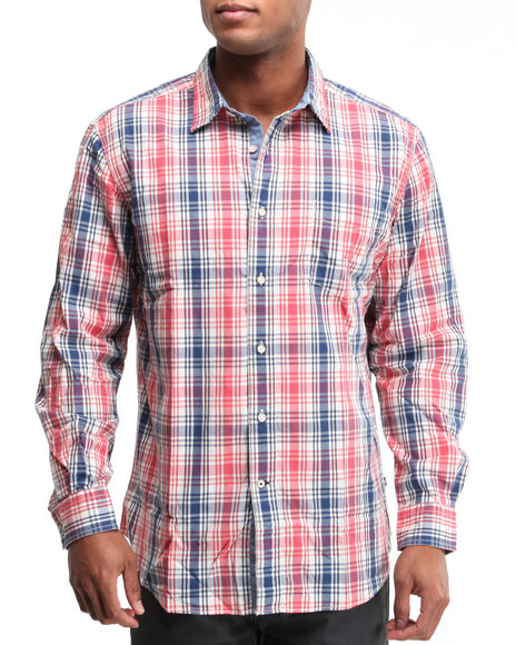 Nautica Men Red Vineyard Poplin Plaid Button-Down Shirt W/ Double Chest Pockets