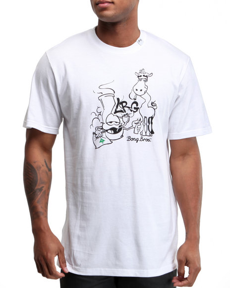 LRG Men White Bong Bros Tee