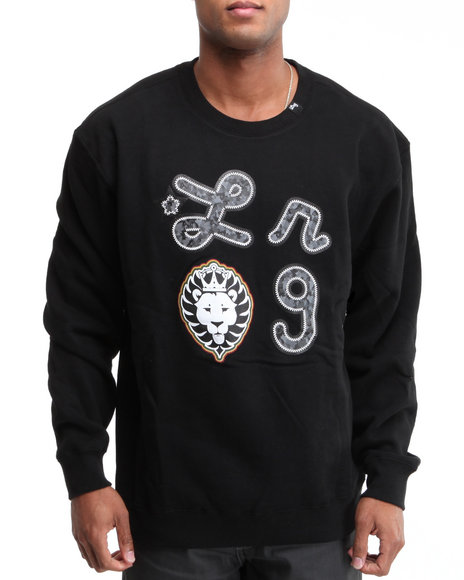 LRG Men Black Iron Camo Lion Crewneck Sweatshirt