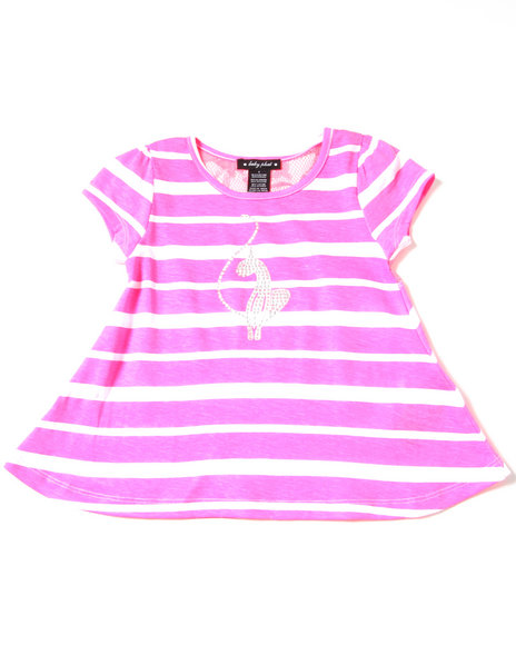 Baby Phat Girls Pink Stripe Tee W/ Lace Back (4-6X)
