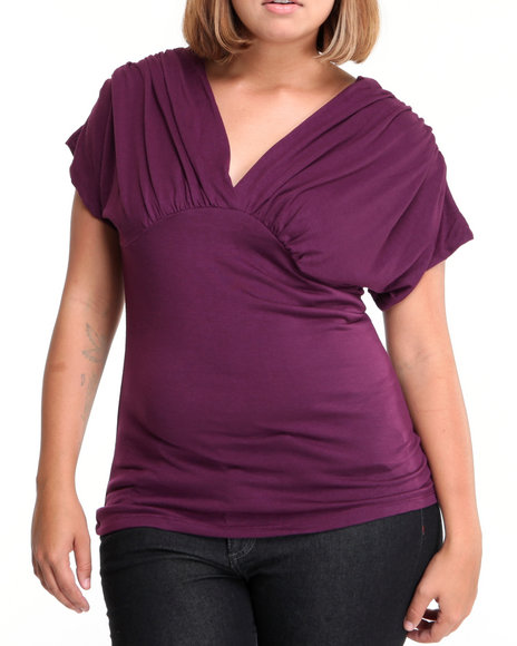 Basic Essentials Women Purple Rise Basic Top W/Back Detail (Plus)