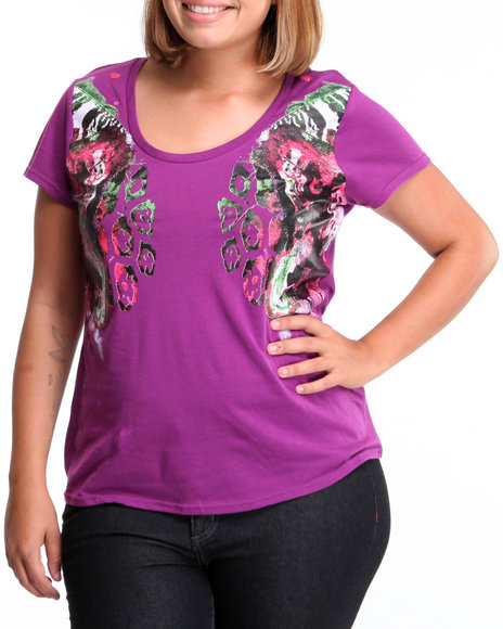 Rocawear Women Purple The Beauty Of Flight Printed Bust Tee (Plus Size)