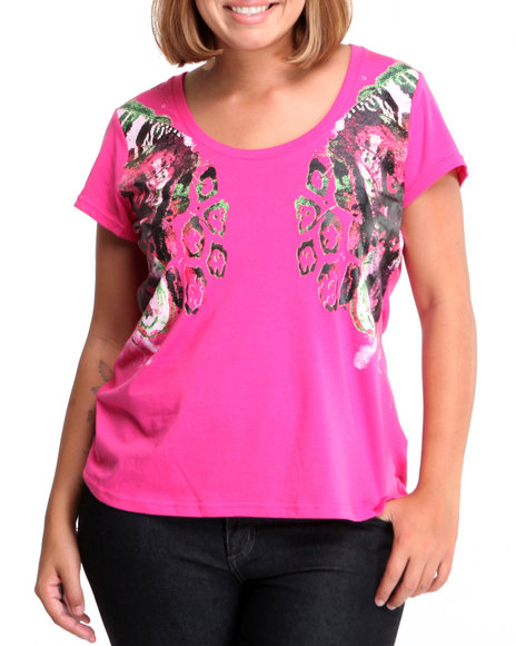 Rocawear Women Pink The Beauty Of Flight Printed Bust Tee (Plus Size)