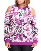 Women - Butterfly Effect Cotton Fleece Cold Shoulder Sweater