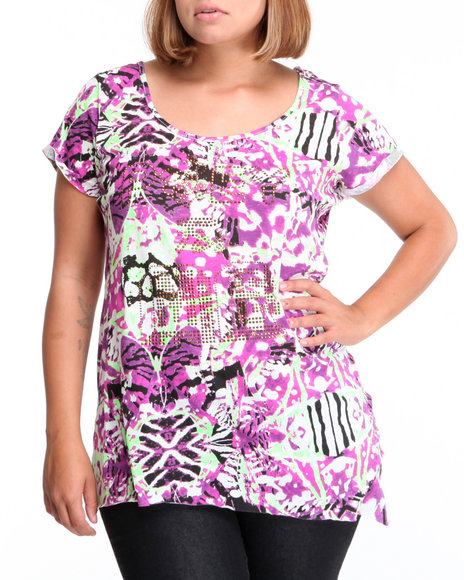 Rocawear Women Purple Prey For Me Asymmetrical Mixed Print Tee