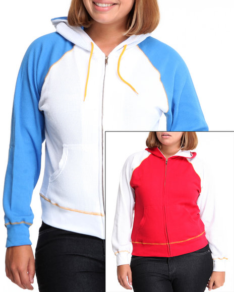 Basic Essentials Women Red,White,Yellow Thermal Color Block Hoodie