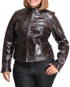 Women - Leather zipup jacket (plus)