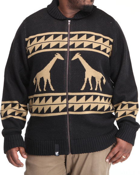 LRG Men Black Giraffe Tribe Cardigan (B&T)