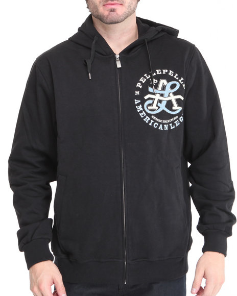 Pelle Pelle Men Black,Black American Legend Zip Up Hoodie
