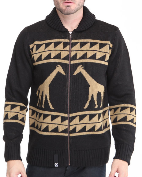 LRG Men Black Giraffe Tribe Cardigan
