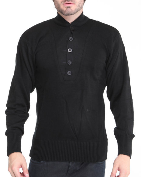 Rothco - Men Black G.I. Style 5 Button Acrylic Sweater