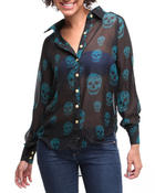 Women - Chiffon skull woven button-down