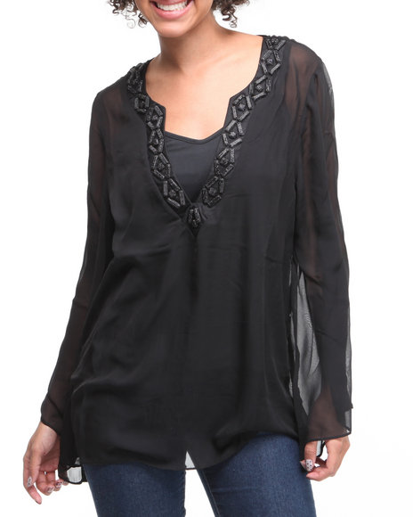 Basic Essentials Women Black Sequins Top