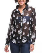 Polos & Button-Downs - Chiffon skull woven button-down