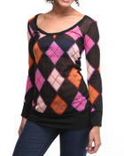 Women - Argyle print long sleeve knit top