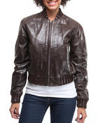Women - Leather bomber jacket