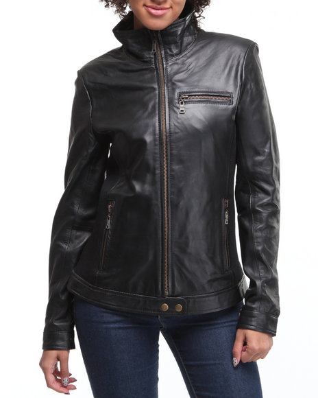 Drj Leather Shoppe Women Black Leather Bomber Jacket