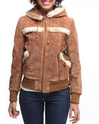 Women - Hooded Suede leather jacket