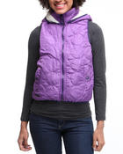 Women - Quilted hooded vest w/faux fur lining