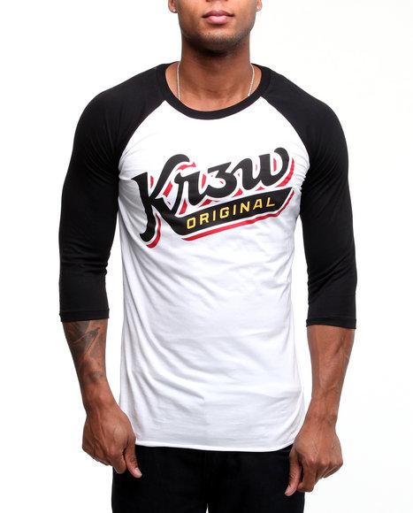 Kr3w Men White Shortstop Premium Raglan 3/4 Sleeve Baseball Tee