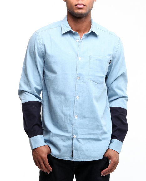 Wesc Men Light Blue Loo L/S Button Down Shirt