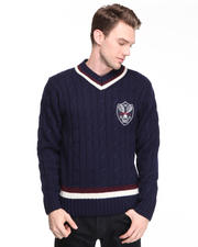 DJP OUTLET - V-neck cable knit tennis sweater