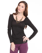 Tops - Solid Long Sleeve Slim Jersey Tee