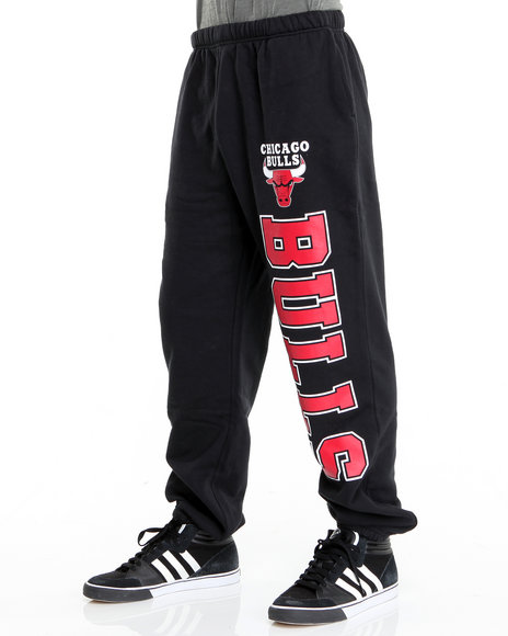 Mitchell & Ness Black Nba Relaxed Fitchicago Bulls Fleece Sweatpants