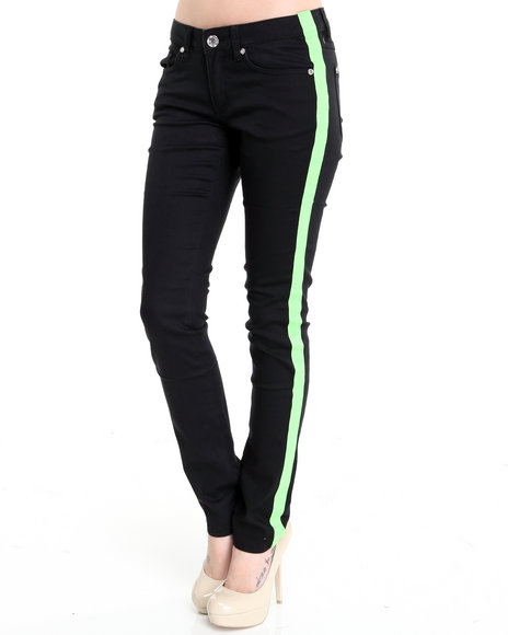 Basic Essentials - Women Black,Green Tuxedo Skinny Jean Pants