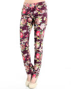 Women - Big flower skinny jean pants