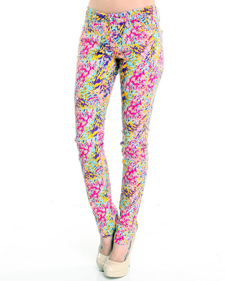 multi animal print skinny jean pants
