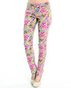 Women - Multi animal print skinny jean pants