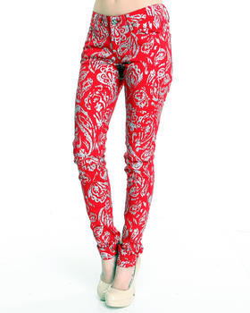 Basic Essentials - Paisley Print skinny jean pants