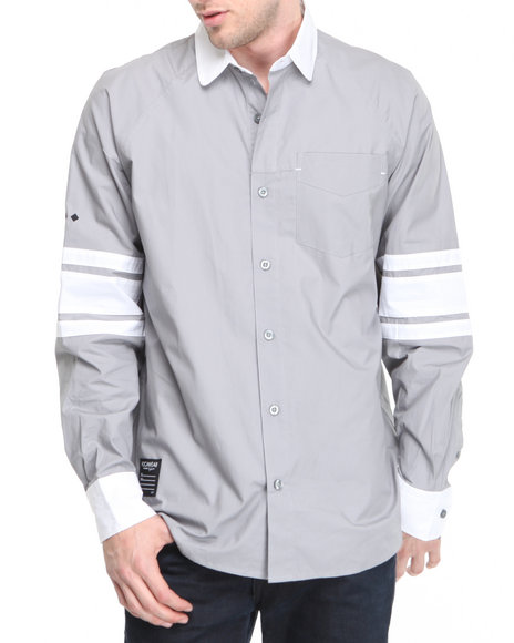 Rocawear Men Grey Kent L/S Button-Down