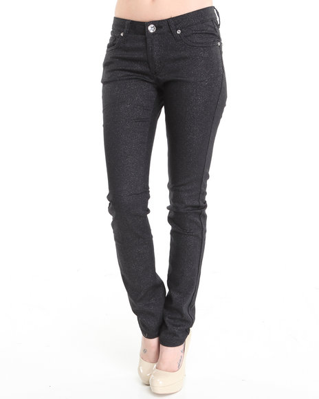 Basic Essentials - Women Black Glitter Skinny Jean Pants