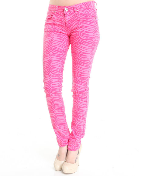 Basic Essentials - Women Pink Zebra Printed Skinny Jeans