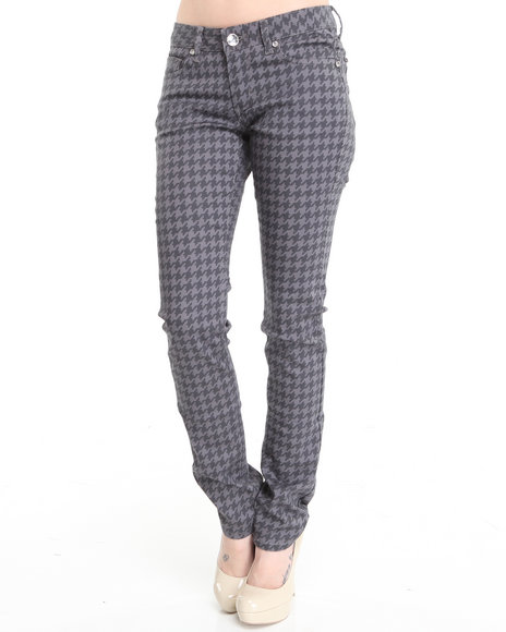 Basic Essentials - Women Grey Houndstooth Printed Skinny Jean Pants