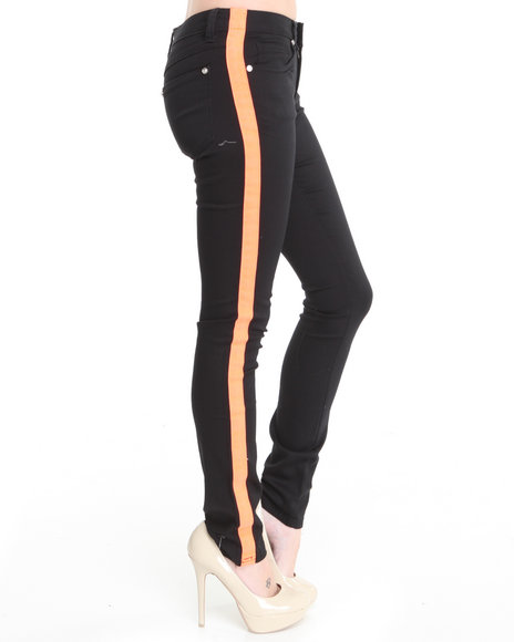 Basic Essentials - Women Black, Orange Tuxedo Skinny Jean Pants