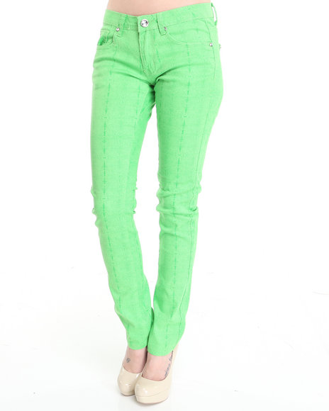 Basic Essentials Women Lime Green,Green Python Print Skinny Jeans