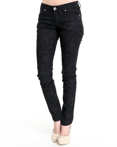 Basic Essentials Black Mixed Media Animal Print Skinny Jeans