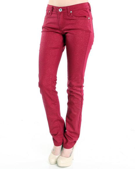 Basic Essentials - Women Red Glitter Skinny Jean Pants