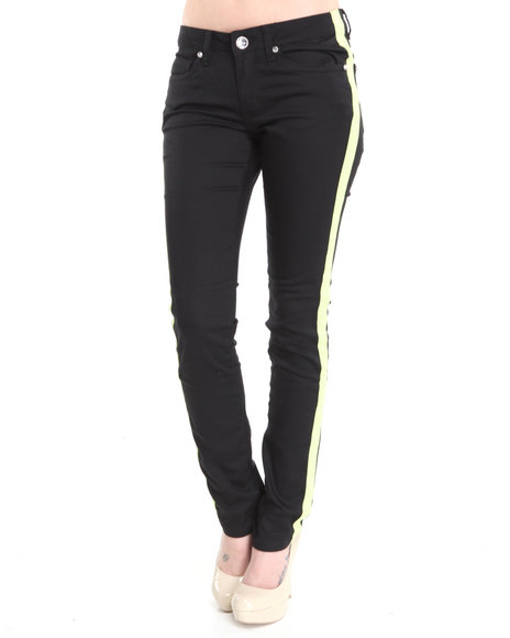 Basic Essentials Women Lime Green,Black Tuxedo Skinny Jean Pants