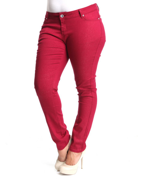 Basic Essentials Women Red Glitter Skinny Jean Pants (Plus)