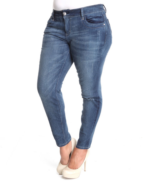Baby Phat Women Dark Wash Distressed Skinny Jeans (Plus Size)