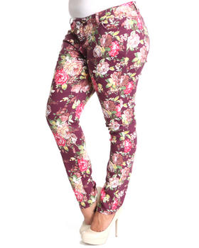 Basic Essentials - Big flower skinny jean pants (plus)