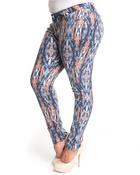Women - Tribal print skinny jean pants (plus)