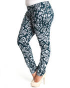 Women - Paisley Print skinny jean pants (plus)